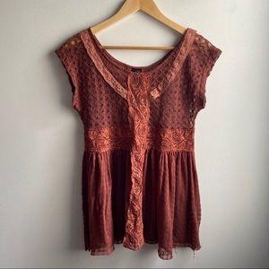 Free People New Romantics rust lace crochet tunic